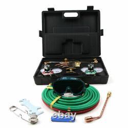 Gas Welding Cutting Kit Acetylene Oxygen Regulator Torch with 3Nozzles Hose Case