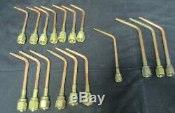 Lot of 17 VICTOR TORCH WELDING CUTTING BRAZING HEADS TORCH TIPS 2W, 3W, 4W1, 5W