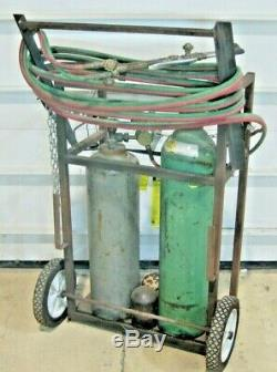 Oxy Acetylene Cutting Torch Set, Tank Cart, Victor UniWeld, Oxygen Welding, hose