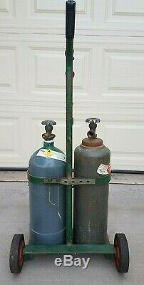 Oxygen Acetylene Empty Tanks Victor Welding Cutting Torch Regulators Hose Cart
