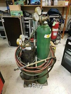 Oxygen Acetylene Tanks, Welding Cutting Torch, Regulators, 50' Hose and Cart