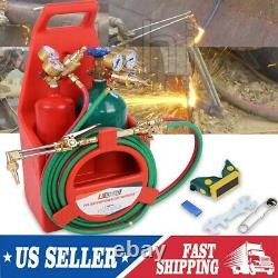 Oxygen Acetylene Weld Welding Cutting Torch Kit withGauges & 2 Tanks & hoses USA