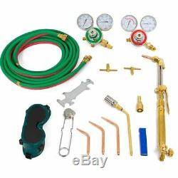 Oxygen Acetylene Welding Cutting Torch Kit Harris Type With Goggles Tips Burner HD