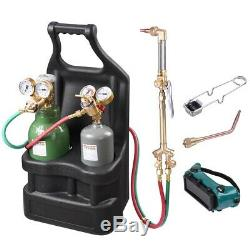 Portable Weld Torch Tank Kit Twin Tote Oxygen Acetylene Oxy Cutting Brazing DOT
