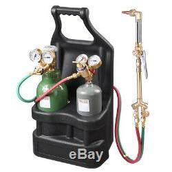 Portable Weld Torch Tank Kit Twin Tote Oxygen Acetylene Oxy Cutting Brazing DOT
