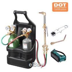 Portable Weld Torch Tank Kit Twin Tote Oxygen Acetylene Oxy Cutting Brazing US