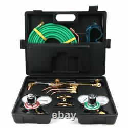 Portable Welding & Cutting Kit Oxy Acetylene Oxygen Torch with 15' Hose+Case Kit