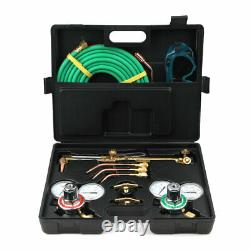 Portable Welding & Cutting Kit Oxy Acetylene Oxygen Torch with Hose + Case
