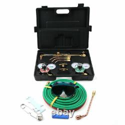 Portable Welding & Cutting Kit Oxy Acetylene Oxygen Torch with Hose + Case Kit