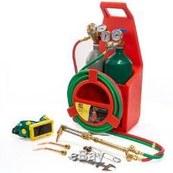 Portable Welding Torch Kit Oxygen Acetylene Tanks 3 16 In. X 12 Ft. Hose Cut