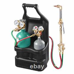 Professional Portable Welding Cutting Torch Tool Kit with Acetylene Oxygen Tanks