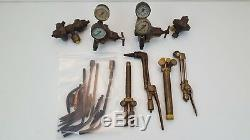 Vintage Airco Victor National Welding Cutting Torch w Regulators & Accessories
