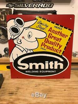 Vtg Smith Welding Equipment Sign Cutting Torch Smithy Metal Sign Advertising