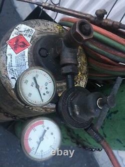 Welding &cutting Set Up 80 Cu Oxygen & Acetylene Tanks-cart-torch-gauges Hose
