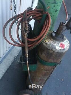 Welding/cutting Set Up 80 Cu Oxygen & Acetylene Tanks-cart-torch-gauges Hose